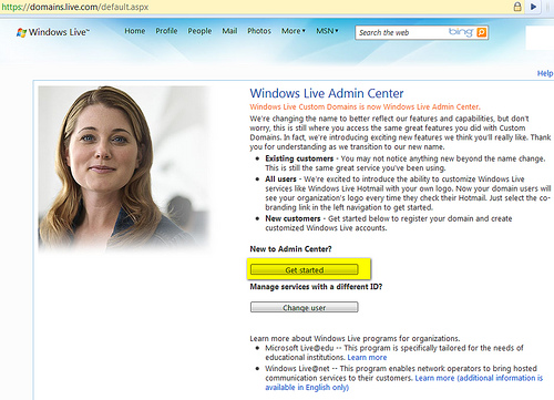 How To: Configure Your Domain with Windows Live Hotmail